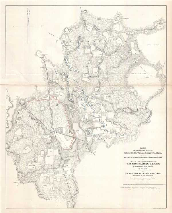 Map of the Country Between Monterey, Tenn. And Corinth,Miss. Showing the Lines of Entrenchments Made and the Routes Followed by the U.S. Forces under the Command of Maj. Gen'l. Halleck, U.S. Army, in Their Advance Upon Corinth, in May 1862. - Main View
