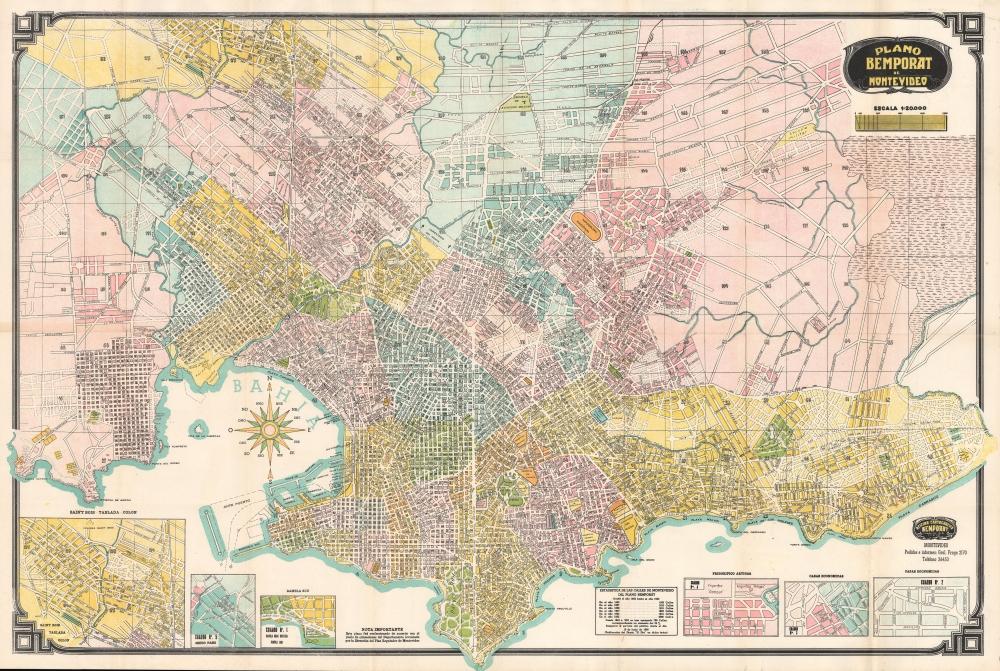 1952 Bemporat City Plan or Map of Montevideo, Uruguay
