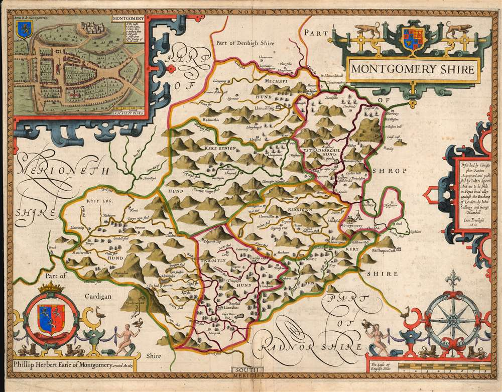 1646 John Speed County Map of Montgomeryshire