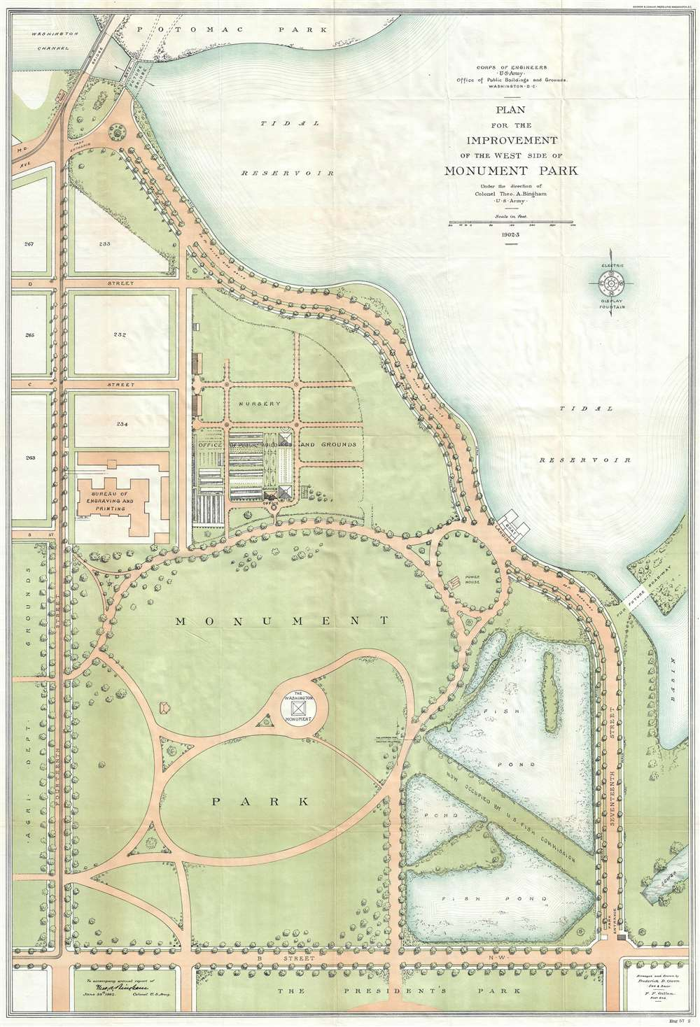 1904 U.S. Army Map of Monument Park, National Mall, Washington D.C.