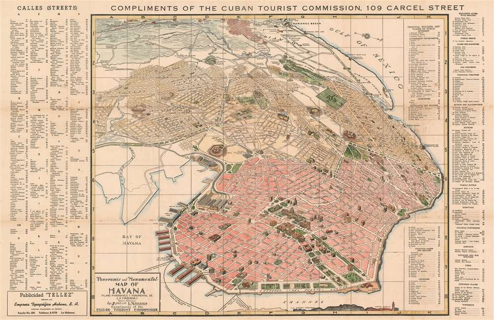 Panoramic and Monumental Map of Havana (Plano Panoramico y Monumental de La Habana). - Main View