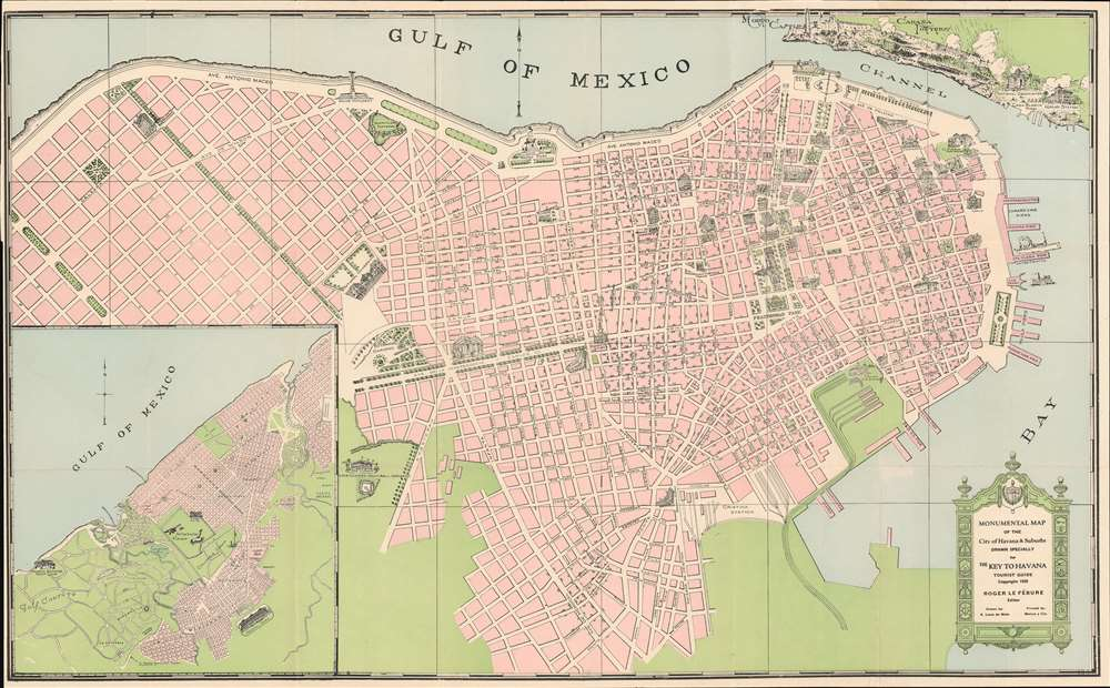 Monumental Map of the City of Havana and Suburbs. Drawn Specifically for the Key to Havana tourist Guide. - Main View