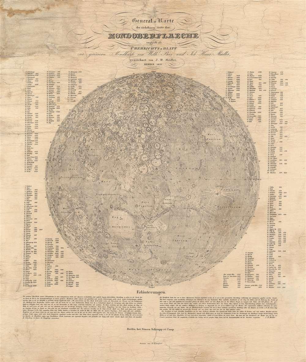 General-Karte der sichtbaren Seite der Mond-oberflaeche zugleich als Übersichts-Blatt zur grössern Mondkarte von Wilh. Beer und Joh: Heinr.: Mädler. - Main View