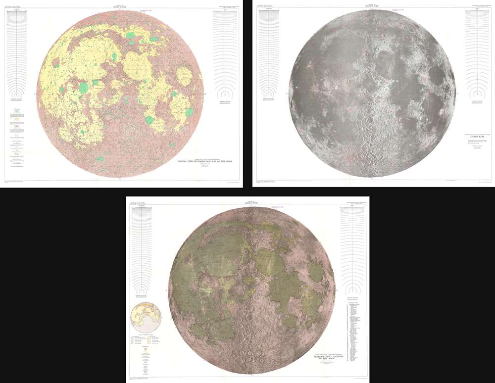 1961 U.S. Geological Survey Set of Three Maps of the Moon