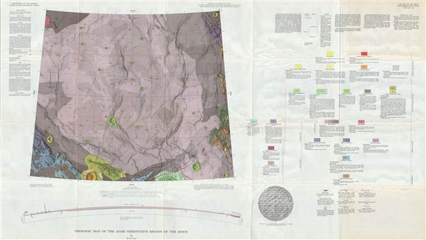 Geologic Map of the Mare Serentatis Region of the Moon by M. H. Carr. - Main View