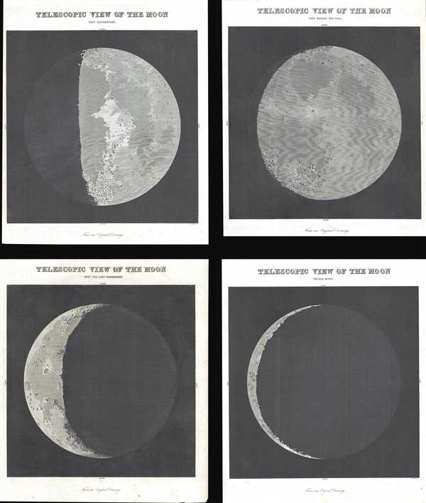 Telescopic View of the Moon Just Before the Full. / Telescopic View of the Moon Past Quadrature. / Telescopic View of the Moon Past the Last Quadrature. / Telescopic View of the Moon The Old Moon. - Main View