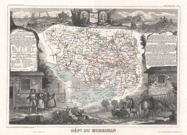 1852 Levasseur Map of the Department Du Morbihan, France