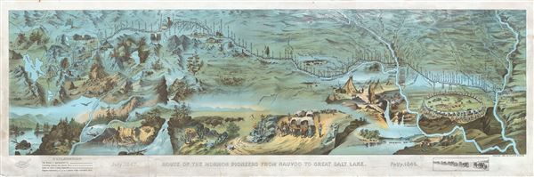 Route of the Mormon Pioneers from Nauvoo to Great Salt Lake.