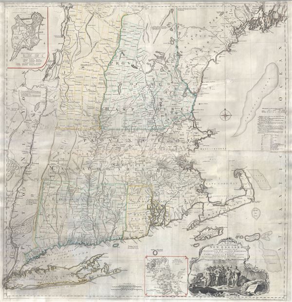A Map of the most Inhabited part of New England containing the Provinces of Massachusets Bay and New Hampshire, with the Colonies of Connecticut and Rhode Island, divided into Counties and Townships:  The whole composed form Actual Surveys and its Situation adjusted by Astronomical Observations.
