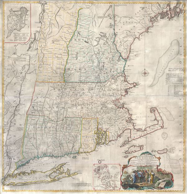 A Map of the most Inhabited part of New England containing the Provinces of Massachusets Bay and New Hampshire, with the Colonies of Connecticut and Rhode Island, divided into Counties and Townships:  The whole composed form Actual Surveys and its Situation adjusted by Astronomical Observations. - Main View