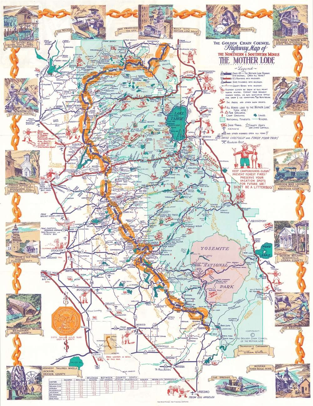 1960 Wintle Pictorial Tourist Map of the Mother Lode Gold Region, California