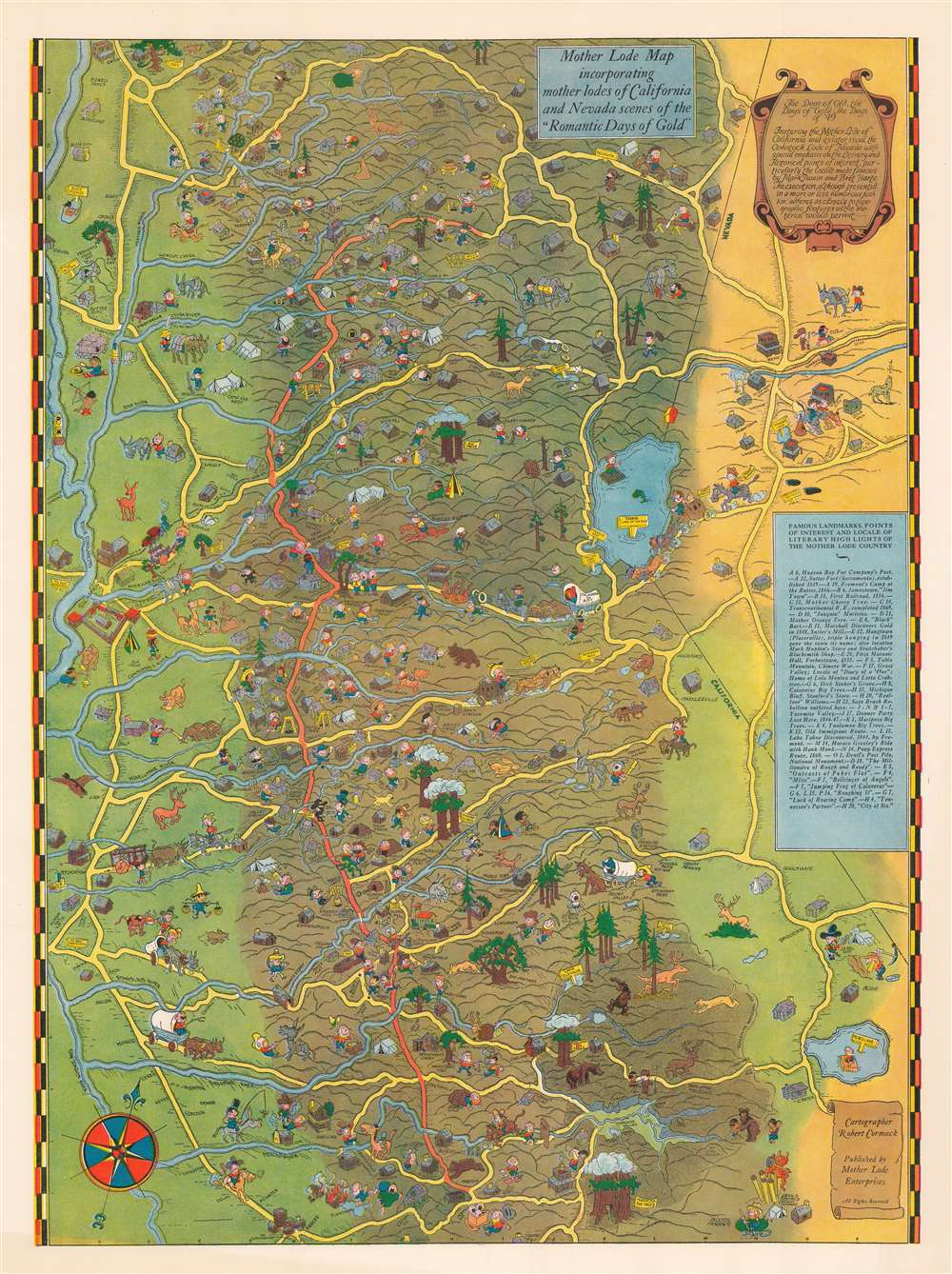 Mother Lode Map incorporating mother lodes of California and Nevada scenes of 'Romantic Days of Gold'. - Main View