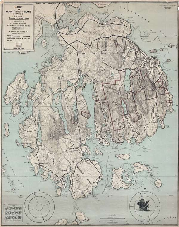 Map of Mount Desert Island Maine Showing Acadia National Park.