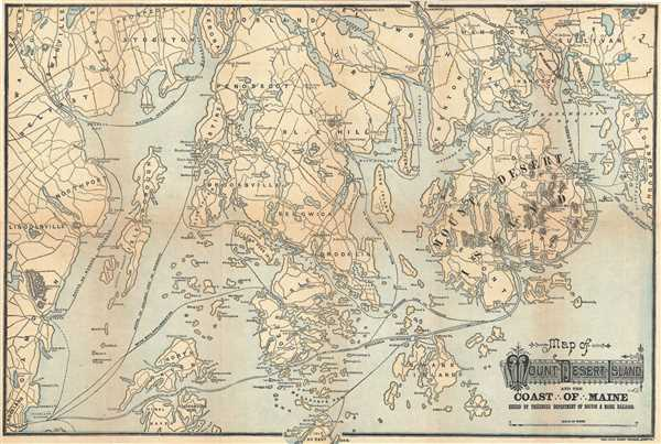 Map of Mount Desert Island and the Coast of Maine.