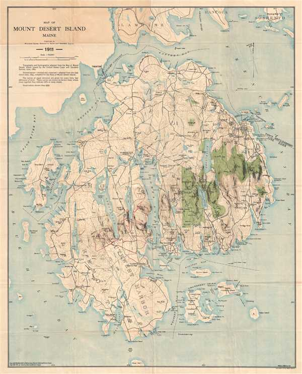 Map of Mount Desert Island Maine.