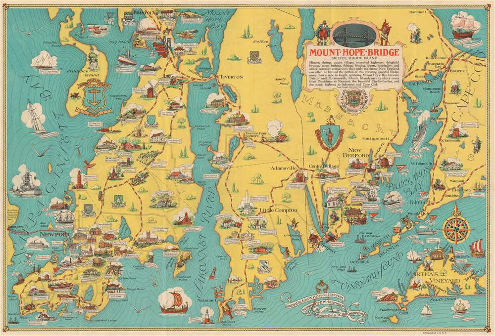 1933 Haley / Hetherington Pictorial Map of Rhode Island and Massachusetts