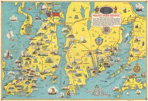 1939 Haley and Hetherington Pictorial Map of Rhode Island and Massachusetts
