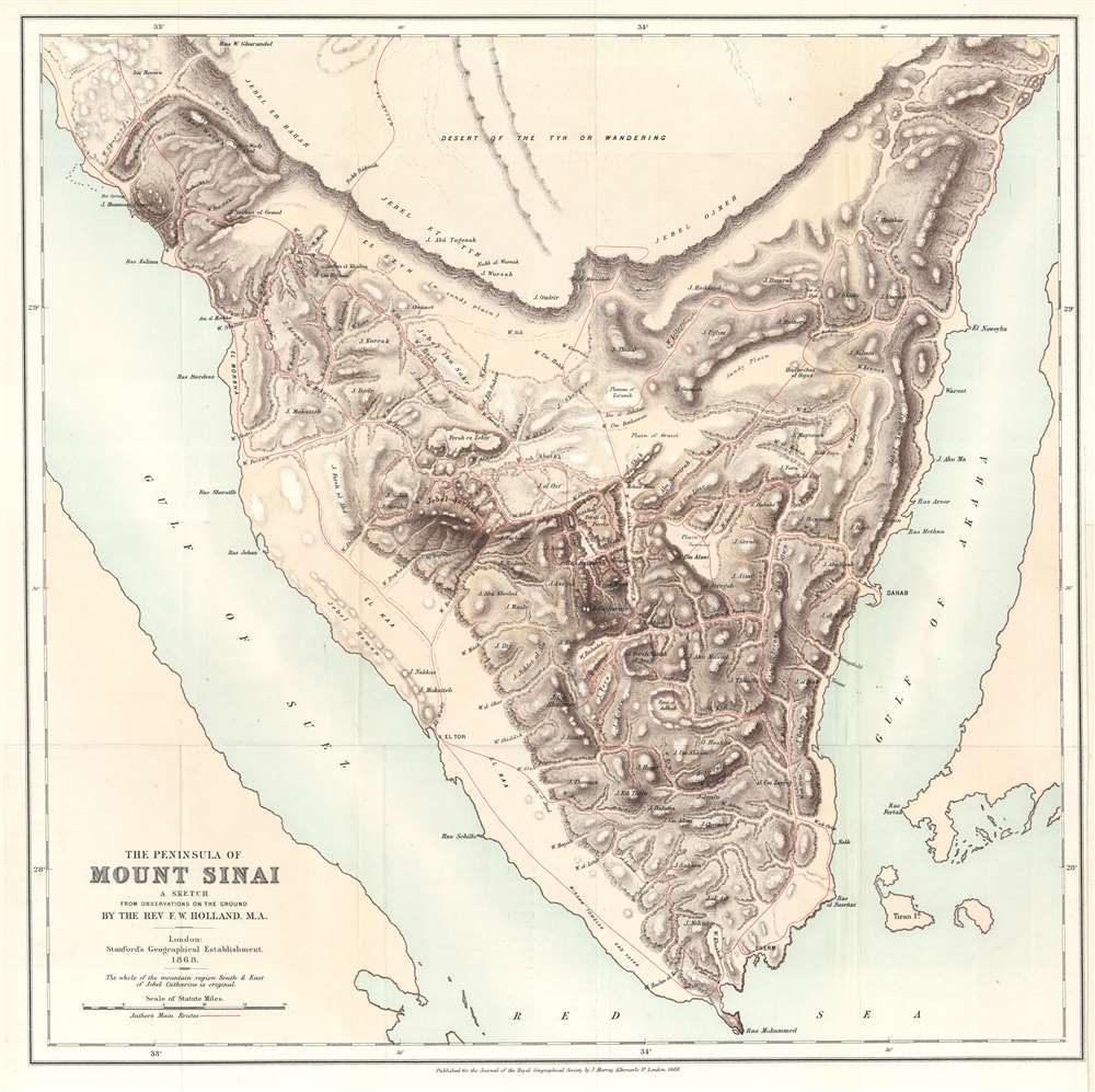 The Peninsula of Mount Sinai. A Sketch from Observations on the Ground by the Rev. F. W. Holland. M.A. - Main View