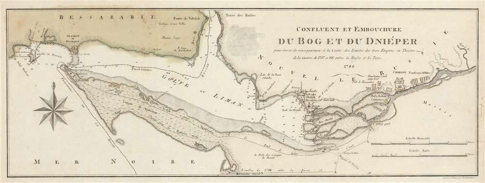 Confluent et Embouchure du Bog et du Dniéper pour Servir de renseignemens à la Carte de Limites de trois Empire ou Théatre de la Guerre de 1787 et 88 entre la Russie et les Turcs. - Main View