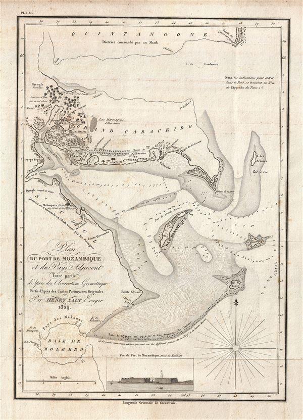 Plan du Port de Mozambique et du Pays Adjacent.: Geographicus Rare Mozambique Channel Map on
