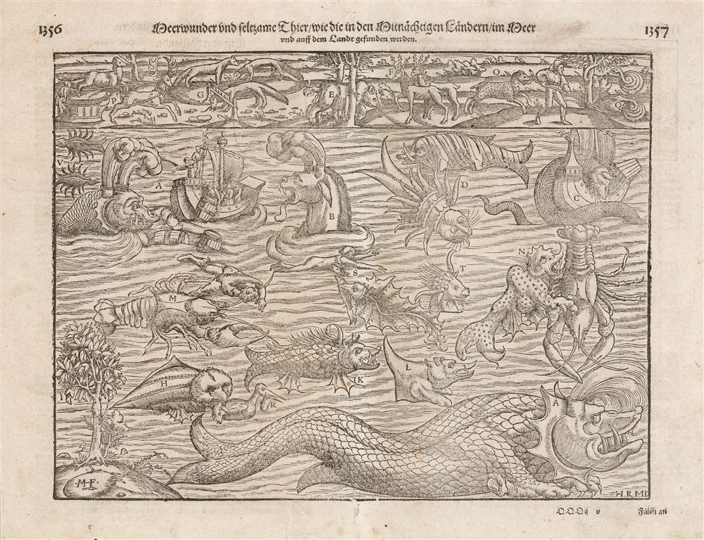 1614 Munster Map of Sea Monsters and Fantastical Beasts