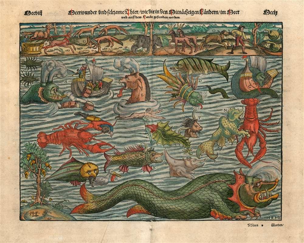 Meerwunder und seltzame Their/ wie die in den Mitnachigen Landern im Meer. - Main View