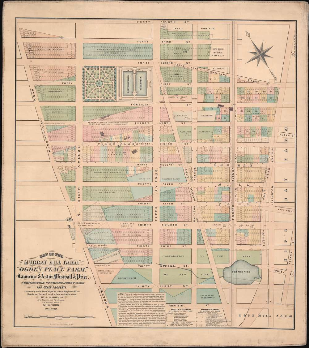Map of the 'Murray Hill Farm,' 'Ogden Place Farm,' Lawrence and Astor, Wiswall and Price, Corporation, Wm. Wright, John Taylor and other Property. - Main View