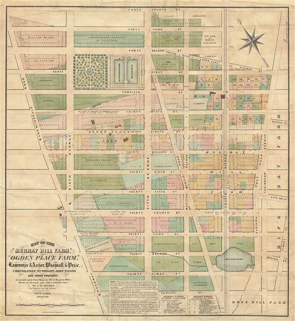 Map of the 'Murray Hill Farm,' 'Ogden Place Farm,' Lawrence & Astor, Wiswall & Price, Corporation, Wm. Wright, John Taylor and other Property.