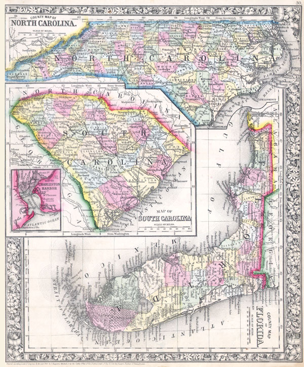 County Map of Florida. / County Map of North Carolina. / Map of South Carolina.