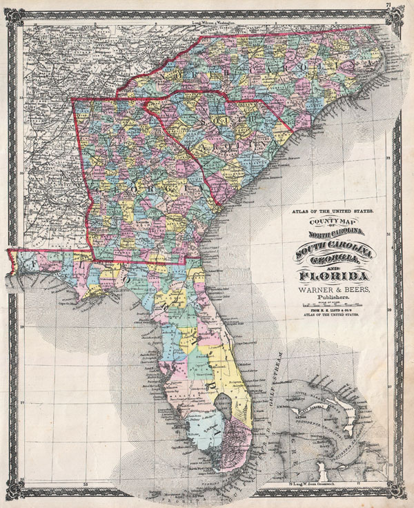 Map Of Florida Georgia And South Carolina County Map of North Carolina, South Carolina, Georgia and Florida