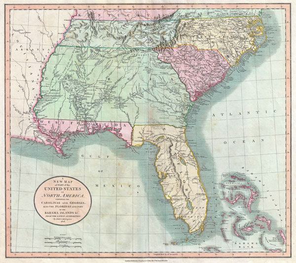 A New Map of Part of the United States of North America, Containing the Carolinas and Georgia, also the Floridas and Part of the Bahama Islands &c.