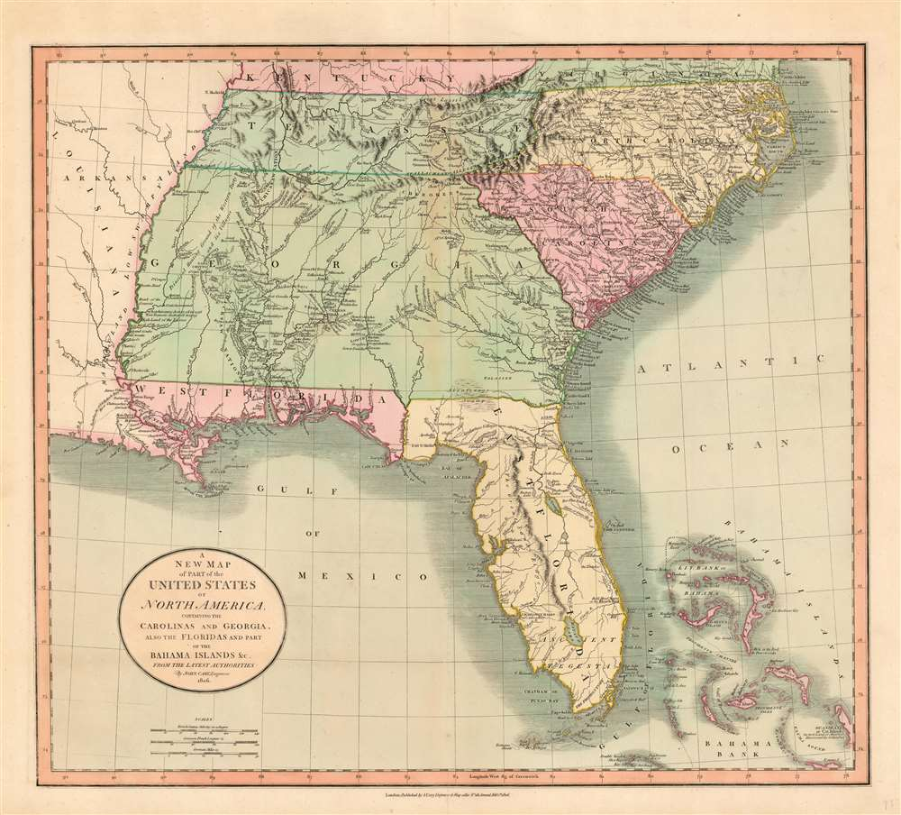 A New Map of Part of the United States of North America, Containing the Carolinas and Georgia, also the Floridas and Part of the Bahama Islands etc. - Main View