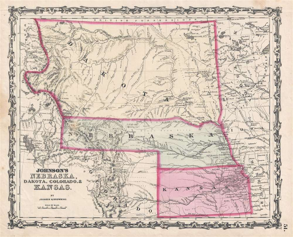 1862 Johnson Map of Kansas, Nebraska and Dakota