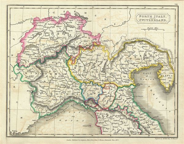 Show A Map Of Italy.North Italy And Switzerland Geographicus Rare Antique Maps