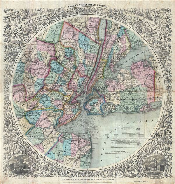 Map of The Country Thirty Three Miles Around The City of New York. - Main View