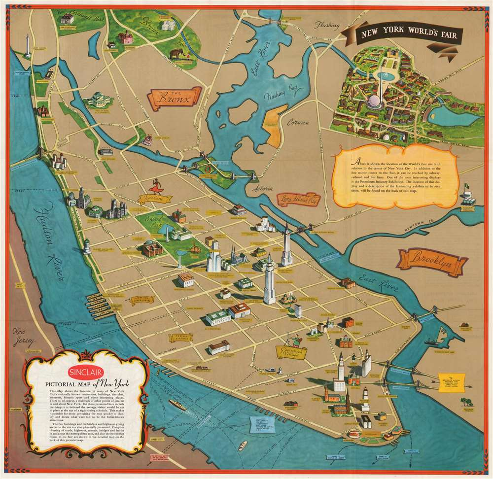 Sinclair Pictorial Map of New York. / New York World's Fair. - Main View