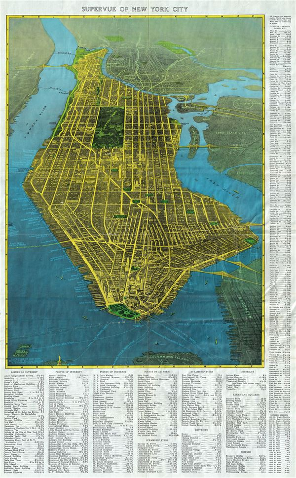 Supervue of New York City Geographicus Rare Antique Maps