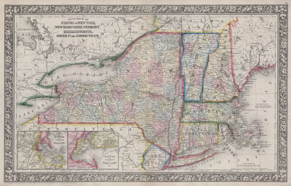 County Map Of The States Of New York, New Hampshire, Vermont. Massachusetts, Rhode Id. And Connecticut. - Main View
