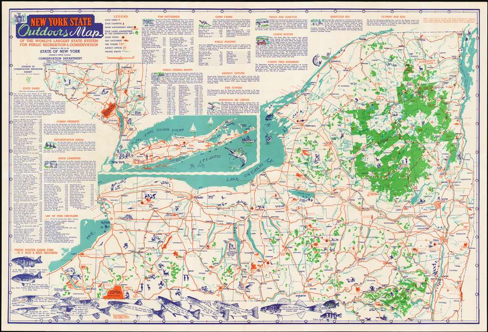 New York State Outdoors Map of the World\'s Largest State ...