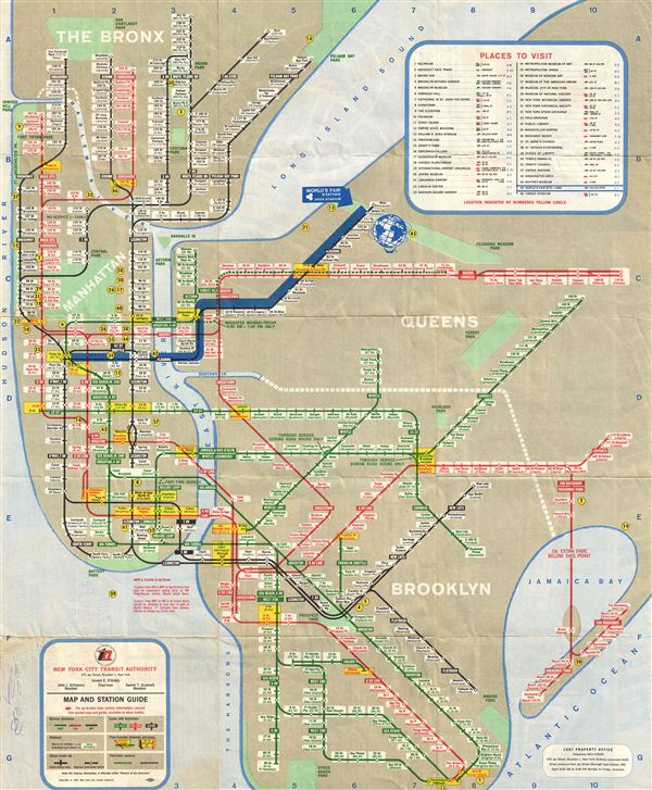 Subway Map Of The Bronx.World S Fair Subway Map Geographicus Rare Antique Maps