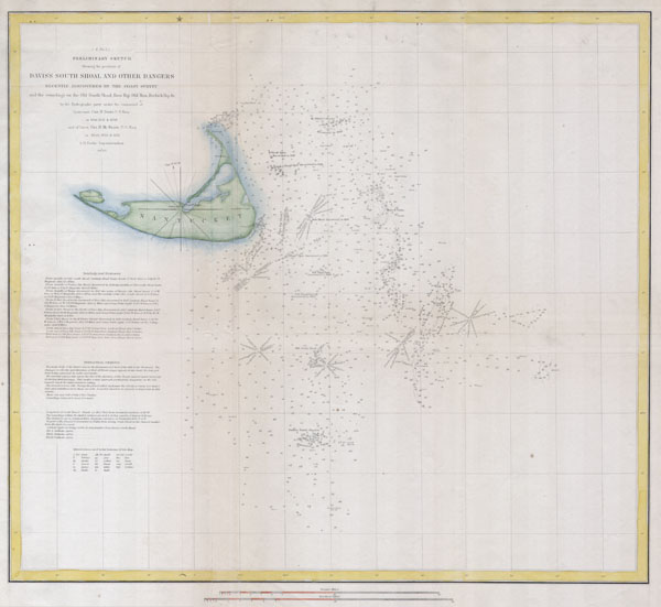 (A No. 2) Preliminary Sketch Showing the positions of Davis's South Shoal and Other Dangers recently Discovered by the Coast Survey and the sounding on the Old South Shoal, Bass Rip, Old Man, Pochuck Rip, &c..