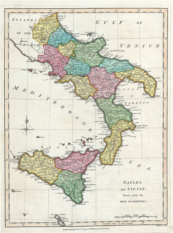 Sicily On Map Of Italy.Naples And Sicily Drawn From The Best Authorities Geographicus