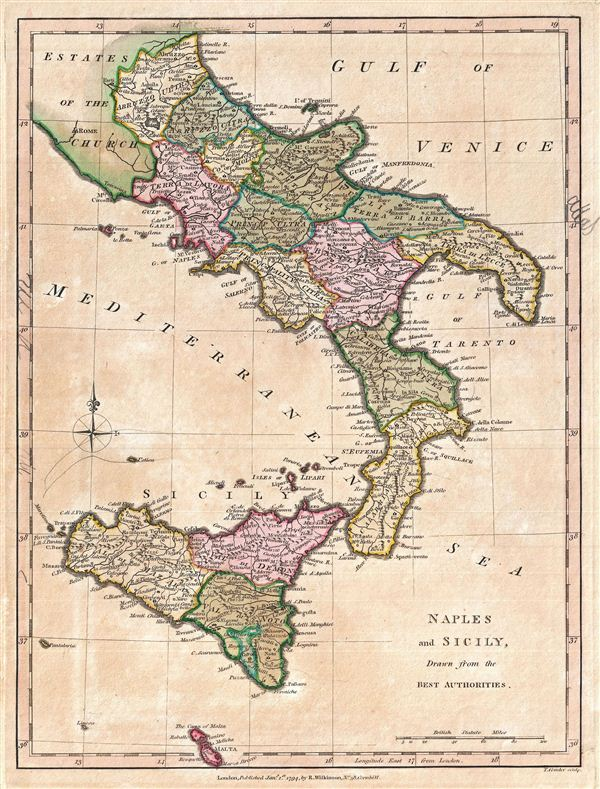 Naples and Sicily, Drawn form the Best Authorities.