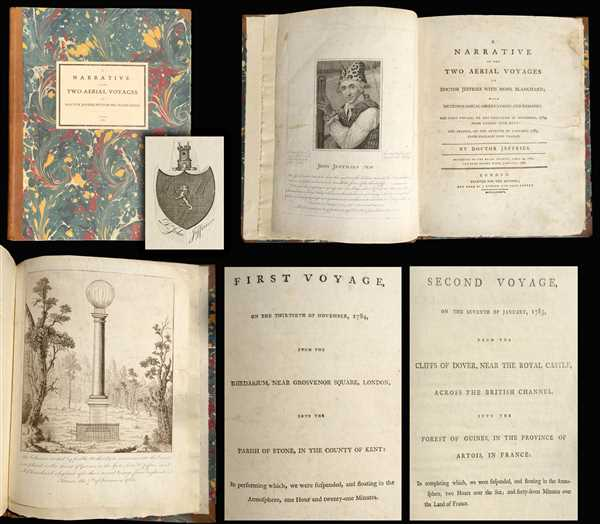 A Narrative of the Two Aerial Voyages of Doctor Jeffries with Mons. Blanchard; with Meteorological Observations and remarks. / First Voyage, on the Thirtieth of November, 1784, from the Rhedarium, near Grosvenor Square, London, into the Paris of Stone, in the Country of Kent; in performing which, we were suspended, and floating in the Atmosphere, on Hour and twenty-one Minutes. / Second Voyage, on the Seventh of January, 1785, from the Cliffs of Dover, Near the Royal Castle, across the British Channel, into the Forest of Guines, in the Province of Artois, in France:  In completing which, we were suspended, and floating in the Atmosphere, Two Hours over the Sea; and forty-seven minutes of the Land of France.
