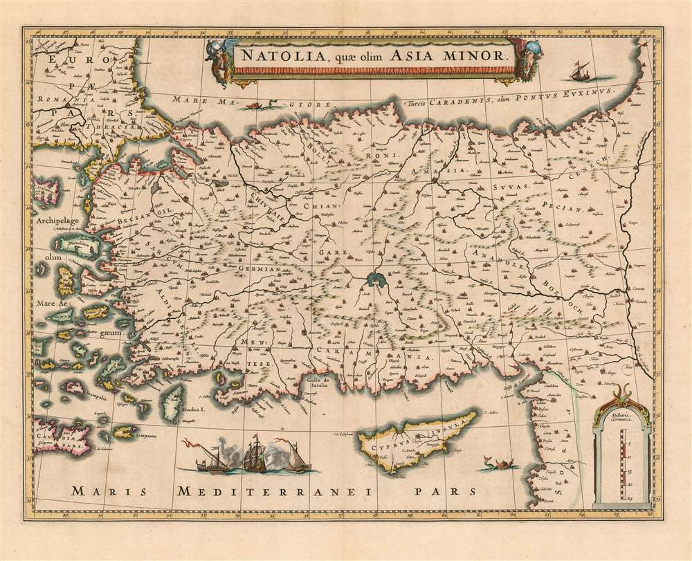 1636 Hondius/ Jansson Map of Turkey and Cyprus in an Apparent Appendix Issue