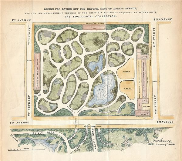 Design for laying out The ground, West of Eight Avenue, and for the arrangement thereon of the principal buildings required to accommodate The Zoological Collection. - Main View
