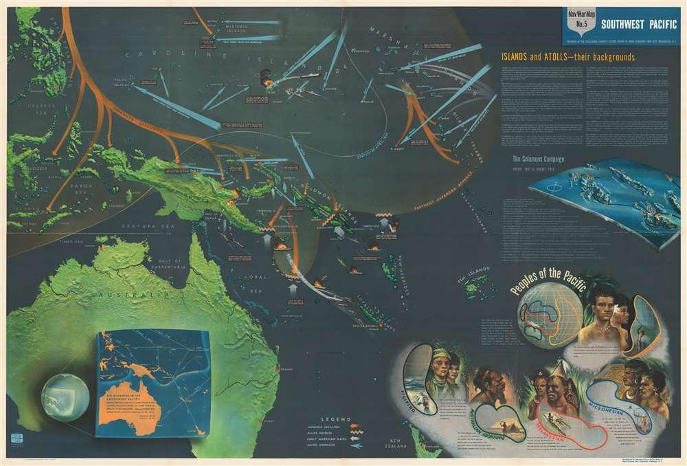 NavWarMap No. 1 The Mediterranean. / NavWarMap No. 2 The South China Sea Area. / NavWarMap No. 3 World War 2 in the North Sea Area. / NavWarMap No. 4 The North Pacific Area. / NavWarMap No. 5. Southwest Pacific. / NavWarMap No. 6 We Fight a Global War. - Alternate View 5