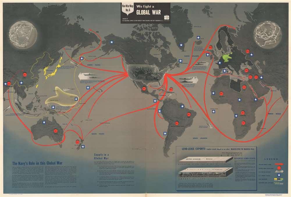 NavWarMap No. 1 The Mediterranean. / NavWarMap No. 2 The South China Sea Area. / NavWarMap No. 3 World War 2 in the North Sea Area. / NavWarMap No. 4 The North Pacific Area. / NavWarMap No. 5. Southwest Pacific. / NavWarMap No. 6 We Fight a Global War. - Alternate View 6
