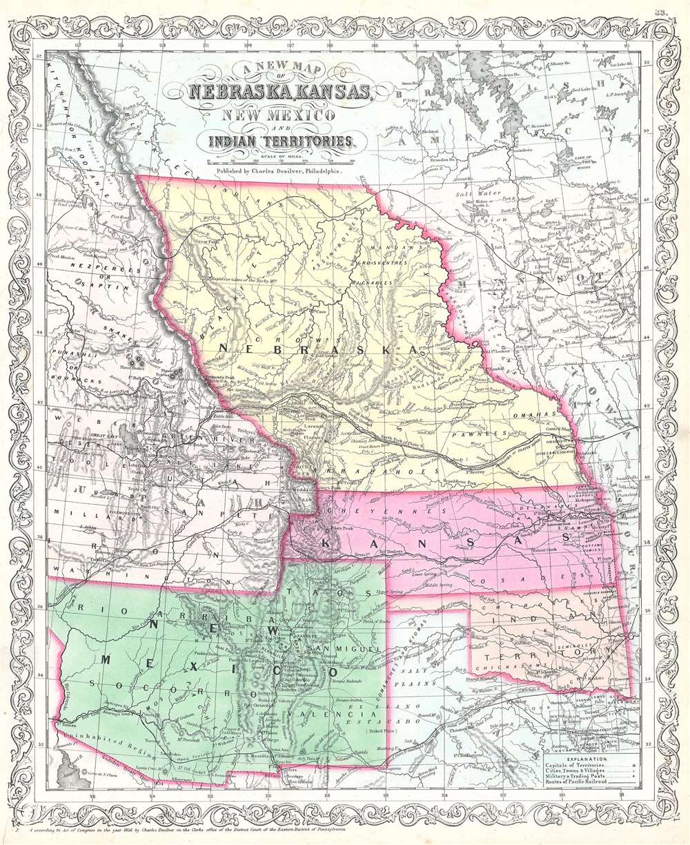 A New Map of Nebraska, Kansas, New Mexico and Indian Territories. - Main View