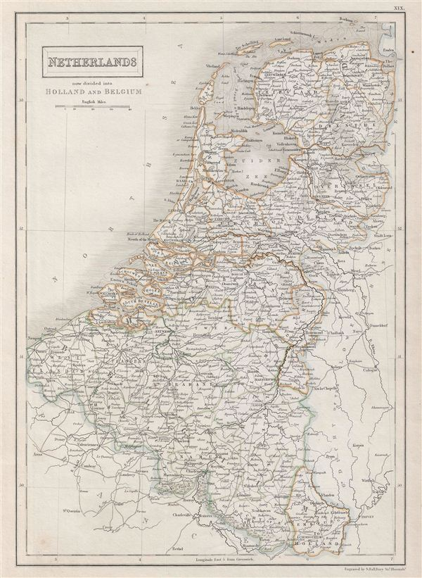 Netherlands now divided into Holland and Belgium.